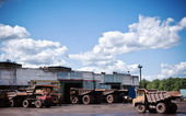 Mining trucks garage — Stock Photo