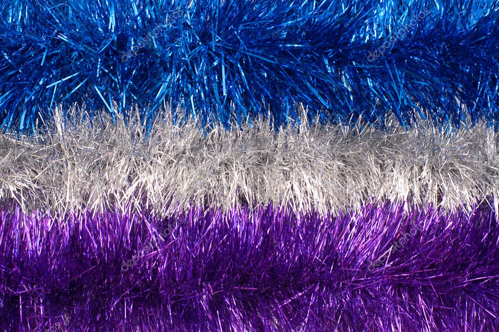 Three horizontal strips of colored tinsel   Stock Photo #1473185