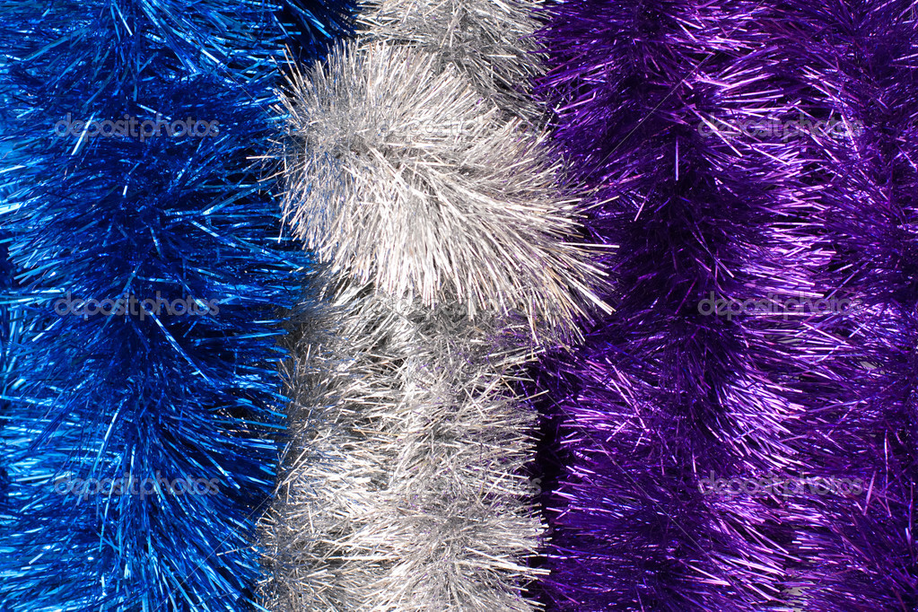 Three vertical strips of colored tinsel  — Stock Photo #1482116