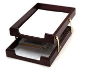 Wooden paper tray — Stock Photo