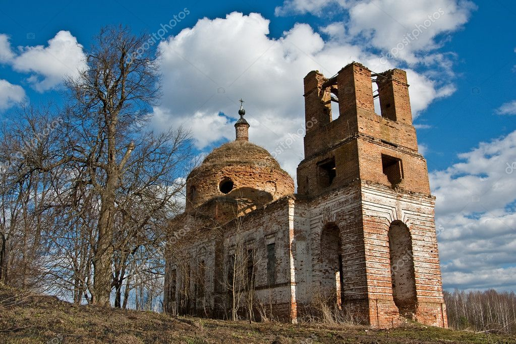 The ruins of old rural church in Russian province  Stock Photo #1774112