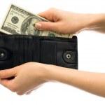Money in black wallet — Stock Photo