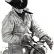 Pencil Drawing of Cowboy in Saddle - Stok fotoğraf