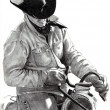 Pencil Drawing of Cowboy in Saddle - Stock Photo
