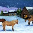 Painting of Horses in Snow - Stock Photo