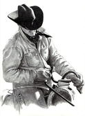Pencil Drawing of Cowboy in Saddle — Stock Photo