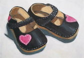 Painting of Baby Shoes with Hearts — Stock Photo