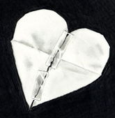 Drawing of a Mended Broken Paper Heart — Stock Photo