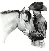 Pencil Drawing of Cowboy and Horse — Stock Photo