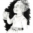 ������, ������: Pencil Drawing: Little Flower Girl