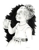 Pencil Drawing: Little Flower Girl — Stock Photo