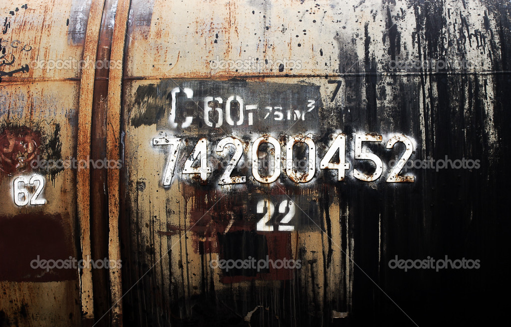 Grunge petroleum waggon with numbers  Stock Photo #1613243