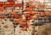 裂纹的 grunge 砖墙背景 — 图库照片