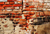 Cracked grunge brick wall background — Foto de Stock