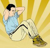 Spor yaparken bir adam çizimi — Stok fotoğraf