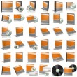 3d render of DVD boxes on white backgrou - Stock Photo