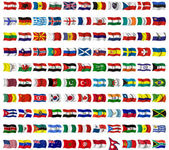 Collection of flags from around the worl — Stock Photo