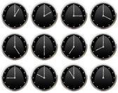 Samling av klockor tickar alla timmar — Stockfoto