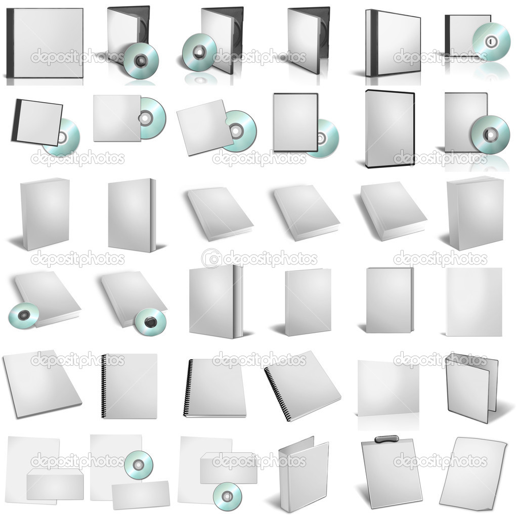 3d render of DVD boxes on white background — Stock Photo #1492366