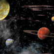 View of the universe with planets - Stock Photo