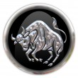Button with the zodiacal sign Taurus - Stock Photo
