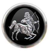 Button with the zodiacal sign Sagittari — Stock Photo