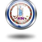 3D Virginia Flag button illustration on — Stock Photo