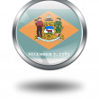 Stock Photo: 3D Delaware Flag button illustration on