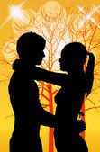 Young couple in love they look — Stock Photo