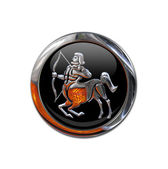 Button with the zodiacal sign Sagittariu — Stock Photo