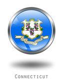3D Connecticut Flag button illustration — Stock Photo