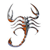 Illustration of a scorpion in chrome — Stock Photo