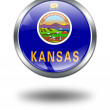 Stock Photo: 3D Kansas Flag button illustration on a