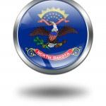 3d 北达科塔州旗按钮 illustratio — 图库照片