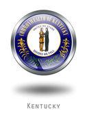 3D Kentucky Flag button illustration on — Stock Photo