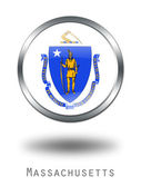 3D Massachusetts Flag button illustrati — Stock Photo