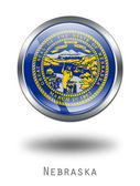 3D Nebraska Flag button illustration o — Stock Photo