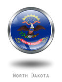3D North Dakota Flag button illustratio — Stock Photo