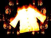 Jersey engulfed in flames on black backg — Stock Photo