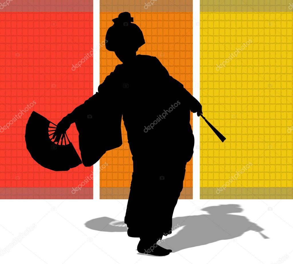 Silhouette of a Japanese woman with a fan — Stock Photo #1644092