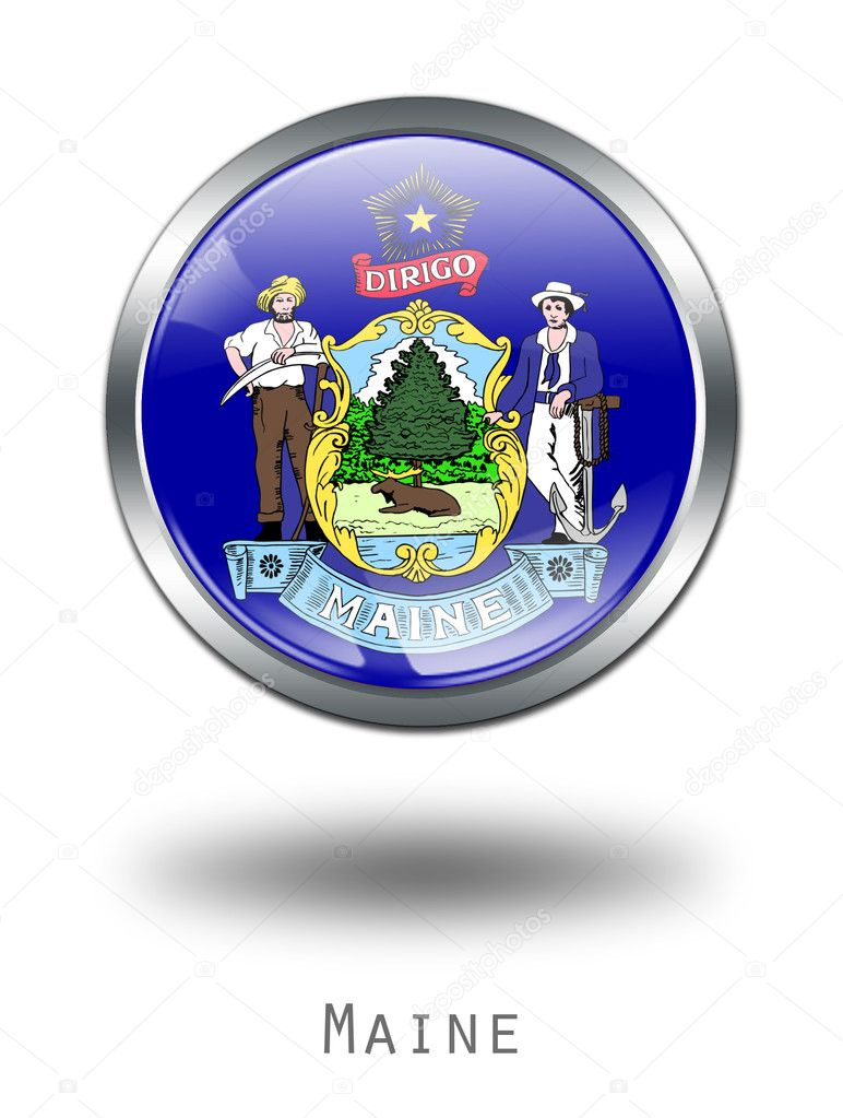 3D Maine Flag button illustration on a white background — Stock Photo #1644435