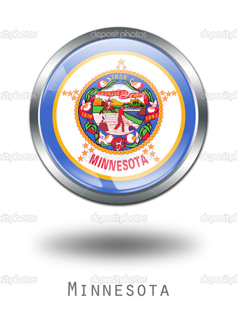 3D Minnesota  Flag button illustration on a white background — Stock Photo #1644515