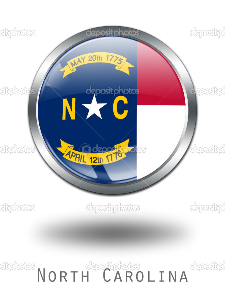 3D North Carolina Flag button illustration on a white background  Stock Photo #1644630