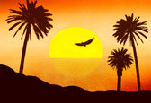 Red sunset in desert with palms — Stock Photo