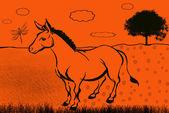 Illustration of a cartoon donkey — Stock Photo