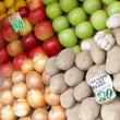 Stock Photo: Fruit laid out on sale with price lists