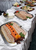 Buffet table. Fast meal. Cheese a fish 2 — Stock Photo