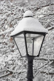 Park lantern in a snow — Stock Photo