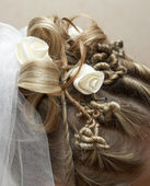 Beautiful stacking of hair of the bride — Stock Photo