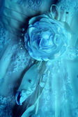 Fragment of a dress of the bride — Stock Photo